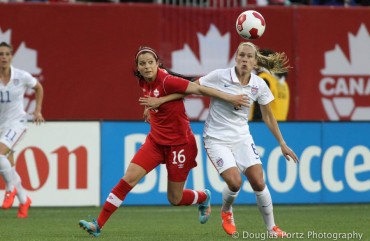 Canada and US Women fight for the ball during Friendly Match in Winnipeg