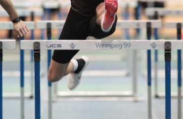 Hurdler in Indoor Athletics competition